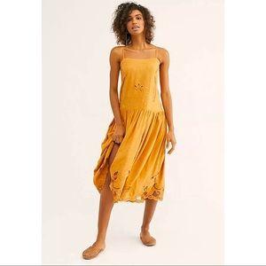 Free People Georgie Midi Dress Embroidered L New